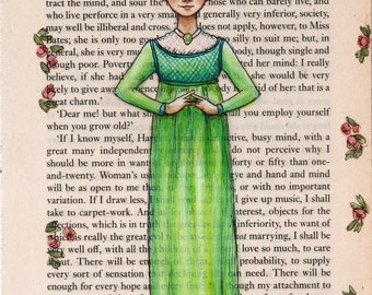 Jane Austen Emma - Emma Woodhouse original painting on book page - Mine Is An Active Busy Mind