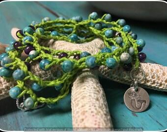 Boho Jewelry, Crochet Neckace, Crochet Bracelet, Wrap Bracelet, Turquoise, Amethyt and Sterling Silver Crochet Bracelet 5X/Necklace