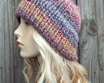 Mixed Color Womens Double Thick Brim Knit Hat - Warm Thick Winter Beanie - Astroland - Pink Hat Pink Beanie - READY TO SHIP