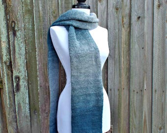 Double Knit Silver and Teal Blue Scarf Grey Mens Scarf Grey Womens Scarf Chunky Knit Scarf Grey Scarf - Knit Accessories - READY TO SHIP