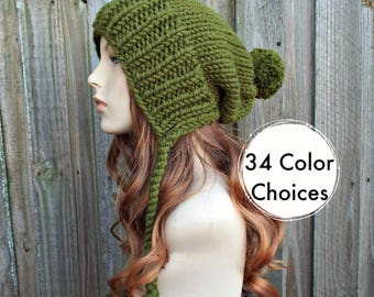 Olive Green Chunky Knit Hat Womens Hat - Green Hat Green Beanie Green Slouchy Beanie - Charlotte - Womens Pom Pom Hat - 34 Color Choices