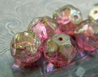 Watermelon Ice (6) -Czech Glass English Cut Rounds 10mm