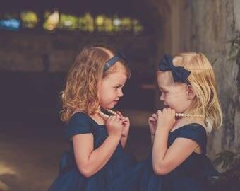 Flower Girl Dress Natural Navy, Floor length Dress, Ankle length dress, Ivory dress, Wedding, Girls dress, Tulle dress, baby dress