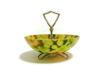 Retro Fiberglass Serving Bowl With Center Handle and Metal Feet