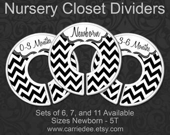 Black & White Chevron Nursery Closet Dividers, Baby Closet Dividers, Baby Clothes Organizers, Black and White Baby, Gender Neutral