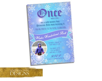 Snow Birthday Invitation with Photo - Winter Birthday Invitation - Winter Wonderland Birthday Invitation - Once Upon A Time Invitation