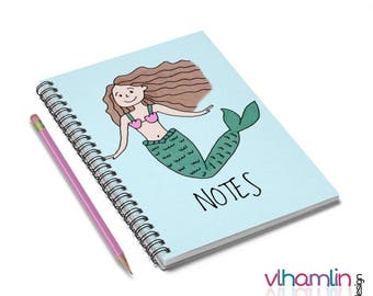 Spiral Notebooks - Cute Notebooks - Brunette Mermaid Notebook - Cute Gifts - Cute Journals - Custom Notebooks