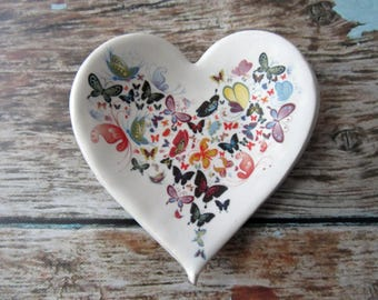 Butterfly heart ring dish or coffee spoon rest - glazed in white with colorful butterfly art