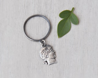 Vintage Silver Silhouette Charm Ring - thin band and head profile charm cut out of a coin - Size 5.25