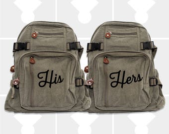 Backpacks, His & Hers, His and Hers, Wife, Husband, Wifey, Hubby, Honeymoon Luggage, Couples Gift, HIs and Hers Backpacks, Anniversary Gift