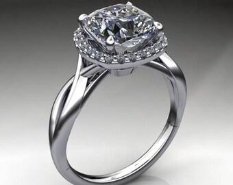 willow ring - 2.4 carat cushion NEO moissanite engagement ring, halo engagement ring