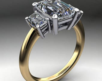 kennedy ring - 3.5 carat emerald cut NEO moissanite engagement ring, two tone ring
