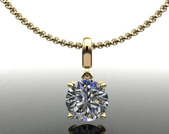 shiya pendant - 1.5 carat NEO moissanite necklace, 1.5 carat stud necklace