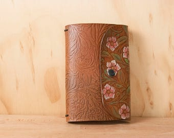Tooled Leather Travelers Notebook - Midori Notebook for Moleskine Cahier or Field Notes - Floral in Pink, white, Green and Antique Brown