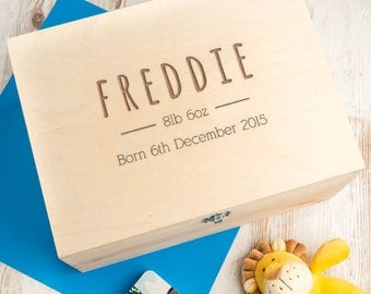Baby Keepsake Box Baby Boy Gift Personalized Large Wooden Box for new parents - B12/B22/B32