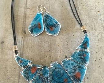 parure collier ras de cou ceramique ancienne turquoise / orange  - Nouvelle collection
