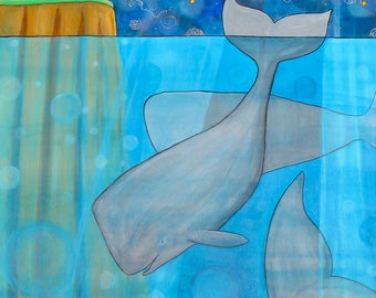 Whales Night Lighthouse print by Shelagh Duffett