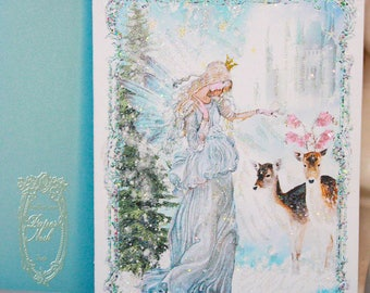 """Blue Christmas Fairy Angel Set of Six 5 x 7"""" Folding Cards and White Shimmer Metallic Envelopes and Seals"""