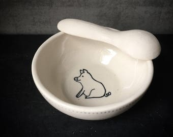 "Ceramic salt cellar and spoon in black and white ""Lucky Pig"""