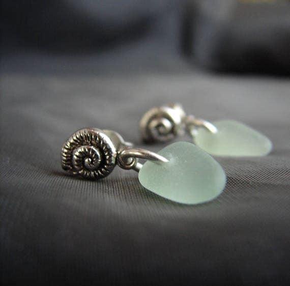 Little Nautilus sea glass earrings in seafoam