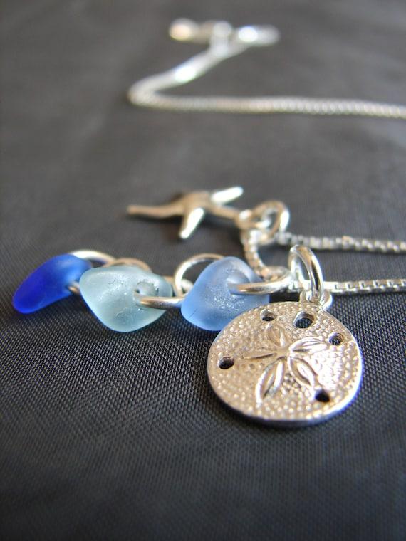 Ocean sea glass cluster necklace in ocean blues