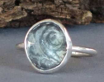 Artisan Ring, Faceted Quartz Ring, Etched Sterling Silver Ring, Quartz Doublet Ring, Silver Ring size 6.5