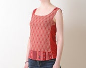 Red and white tank top - Sleeveless top in vintage fabric and red jersey, Summer clothing, Womens tops, MALAM, size S