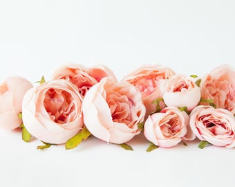 Set of 9 Small to Large Cabbage Roses in Two Tone Pink - Artificial Flowers -read description- ITEM 01128
