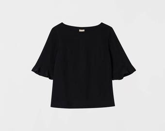 Boxy Women Shirt. Lyocell Drapy Loose Shirt. Bell Sleeve Blouse. Spring Top. Women's Shirt. Sleeve Top. Nina top
