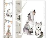 Woodland Nursery Decor, Woodland Growth Chart, Canvas Growth Chart, Tribal Chart, Gender Neutral Growth Chart, Baby Wolf Print, Height Chart