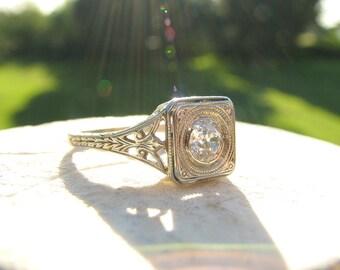 Art Deco Diamond Engagement Ring, Lovely Filigree & Engraving, Sparkly Old European Cut Diamond, 18K White Gold, Circa 1930's