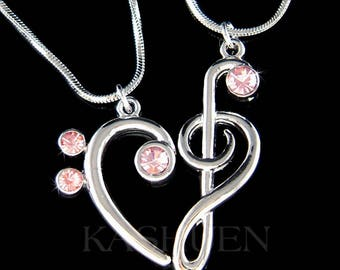 2 Pink Swarovski Crystal TREBLE G Bass CLEF Love Music Lover Musical Note Heart Necklace Set Jewelry Best Friends BFF Mother Christmas Gift