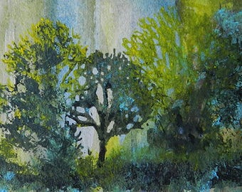 Trees at Forest Edge ACEO Miniature Watermedia Unique Artwork in Watercolor and Acrylic, Desk Art, Teacher Gift, Tree Hugger Gift, Care Gift