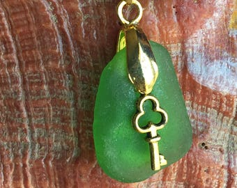 Green Reversible LOCK and KEY California Sea Glass Pendant 2 Sided