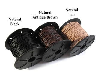 Ultra Soft Leather, Black, Brown or Tan Round Leather, 1mm, 15 Feet, Cord for Wrap Bracelets and Jewelry Making, Jewelry Supplies