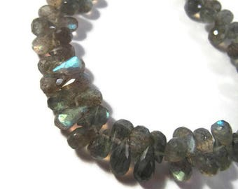 Natural Labradorite Beads, Tiny Gemstone Briolettes, 8 Inch Strand, Natural Labradorite 5.5mm x 4mm - 9mm x 5mm (B-Lab3c)