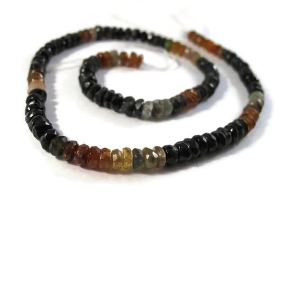 Petrol Tourmaline Beads, Faceted Rondelles, 5mm, 14 Inches of Microfaceted Gemstones for Making Jewelry (R-Tou5b)