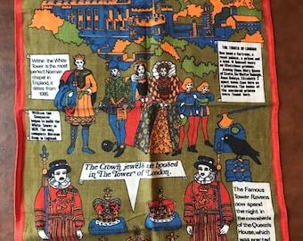 TowerThe Tower of London Vintage Irish Linen Towel Tower Ravens Crown Jewels