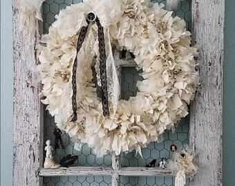 Wreath, Fabric Wreath, Cream Wreath, Rag Wreath, Woodland Wedding, Farmhouse Style, Black and Cream, Christmas Wreath, Shabby Chic Nursery