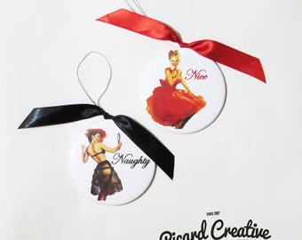 "Naughty & Nice Christmas Ornaments- Pin Up Girls Ornament Set 3"" Mylar with Magnet Back/Ribbon and Gift Bag"