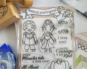 NEW! Cinderella inspired Kids in costumes photopolymer clear stamps 4 x 4 Never too old to Dream lanterns Princess