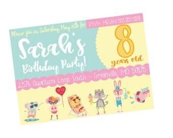 Girls Birthday Invitation, Birthday Party Invite, Swim Birthday Party, Animal Birthday Party, Fabulous Birthday Invite, Party Decor