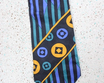1980's Men's Abstract Necktie in Jungle Green, Marigold and Blue . Retro 80s Tie Gift for Dad 80s kid
