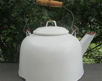 Large Vintage White Enamelware Tea Kettle - Red and White Enamelware Kettle - Four Quart Tea Kettle - Red and White Country Kitchen