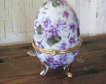 PORCELAIN EGG Trinket Box Violets