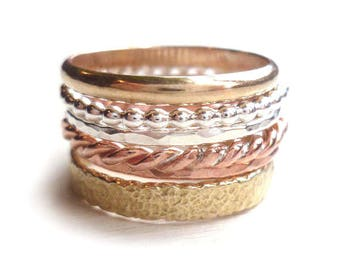 Stacked Ring Mix - Bronze - Brass - Copper - Sterling Silver - Stackable Rings - Beaded - Twisted Rings - Golden Rings - Made In Brooklyn