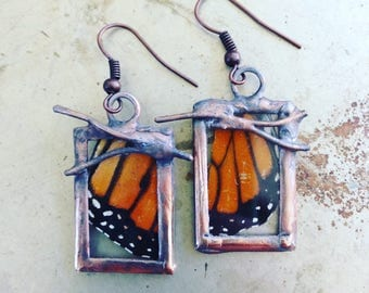 Butterfly Earrings Twig Jewelry Monarch Wing