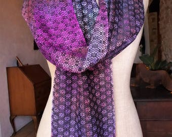 Handwoven Silk Scarf with Handpainted Warp
