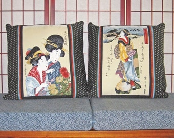 Accent Pillow Zippered Covers Set of 2 Japanese Ukiyo-e Beauties Design 20 inch Black