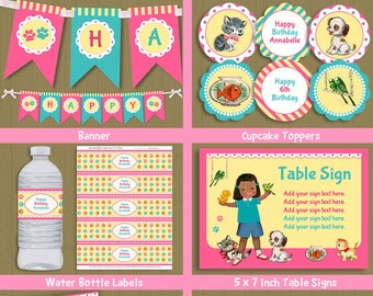 Pet Adoption birthday Party - DIY invitation & decorations - cute African American girl - INSTANT DOWNLOAD #P-39 set 1 - with editable text